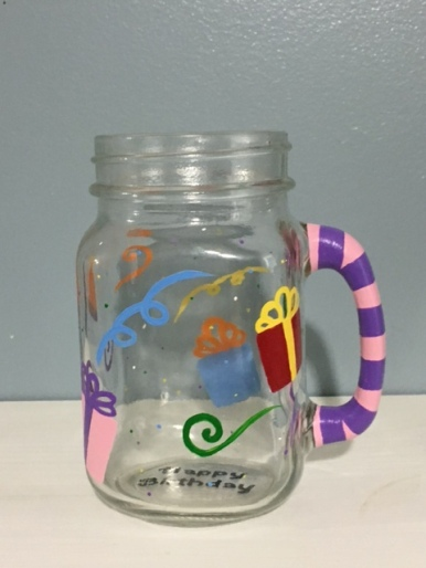 Hand-painted Custom Birthday Mason Jar Glass