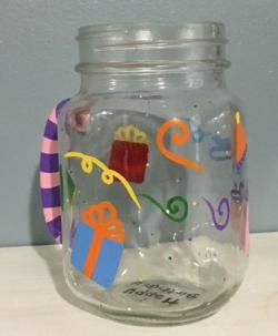 Hand painted Happy Birthday Mason Jar glass