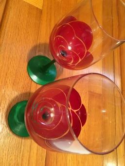 Custom Hand painted Rose Wine Glasses