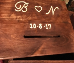 Custom Engraved Wooden Wedding Card Box with Bride and Groom Initials and Wedding Date