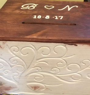 Custom Stained and Engraved Wooden Wedding Card Box