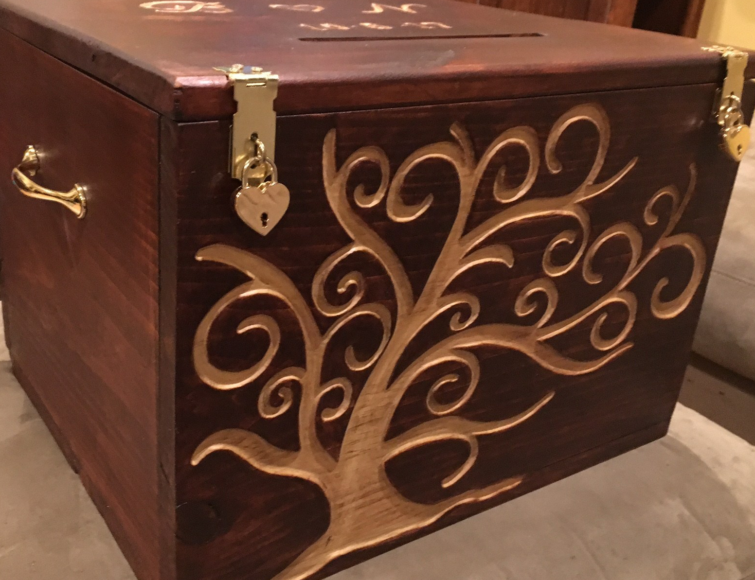 Wedding card box with hand engraved tree