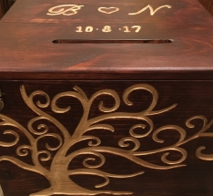 Hand Carved Wedding Card Box with Gold Handles and Hinge