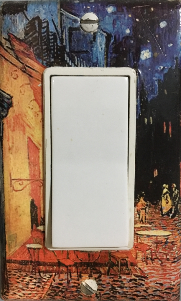 "Vincent Van Gogh's ""Cafe Terrace at Night"" on a light switch cover"