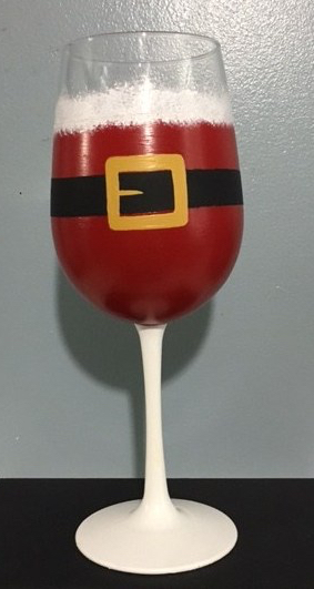 Personalized Christmas Santa Claus Wine Glasses hand painted