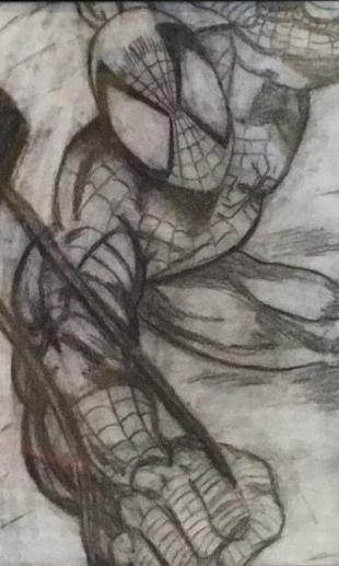 Pencil drawing of Spiderman