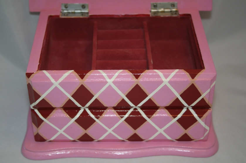 Argyle Pink and Red Kids Jewelry Box