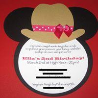 Minnie Mouse Cowgirl Kids Birthday Invitation