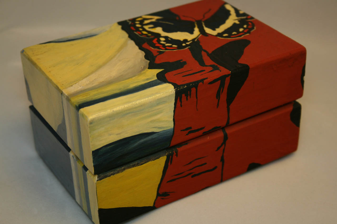 Hand-painted Jewelry Box with Salvatore Dali Butterflies
