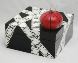 Sewing Box with hand-painted measuring tape and clay push pin holder with real needles