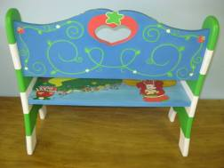 Custom Strawberry Shortcake Kids Hand Painted Bench - Back