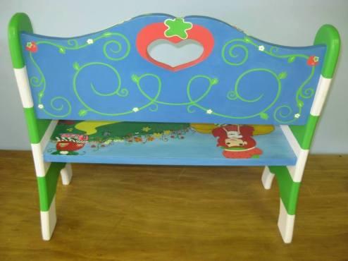 Custom Strawberry Shortcake Kids Hand Painted Bench - Back