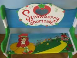 Kids Strawberry Shortcake Hand Painted Kids Bench