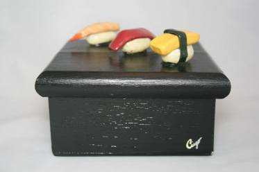 3 piece sushi Clay on Wooden Box