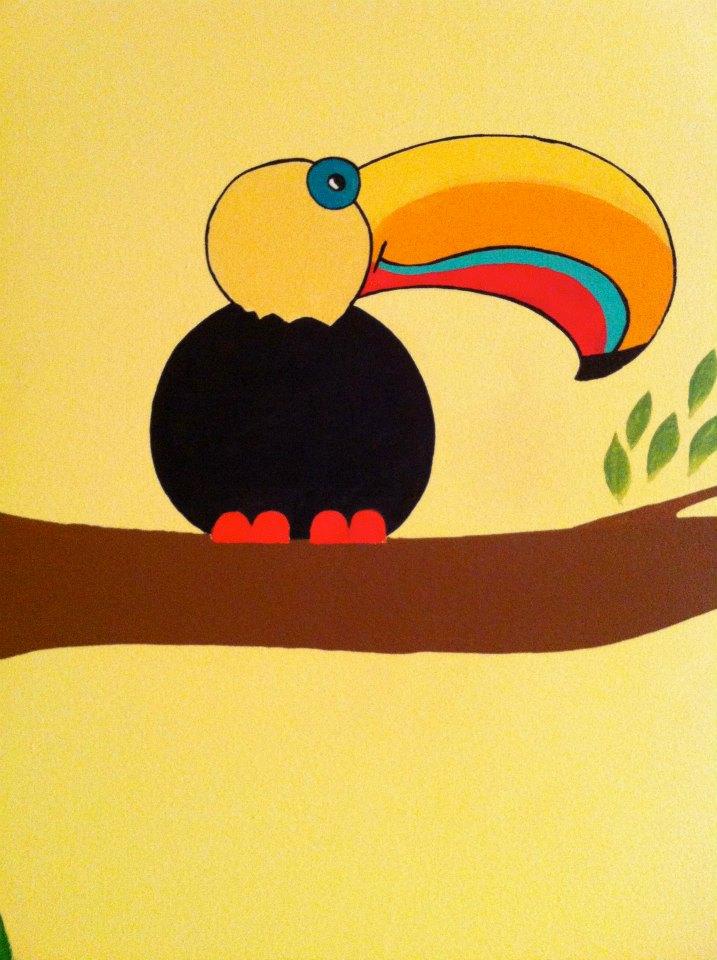 Toucan Bird Painted Mural