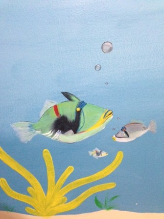 Under the Sea Fish with Bubbles Mural