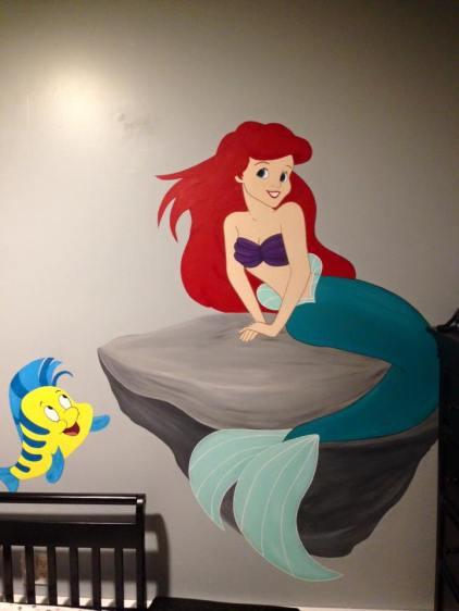 Little Mermaid Ariel and Flounder Mural