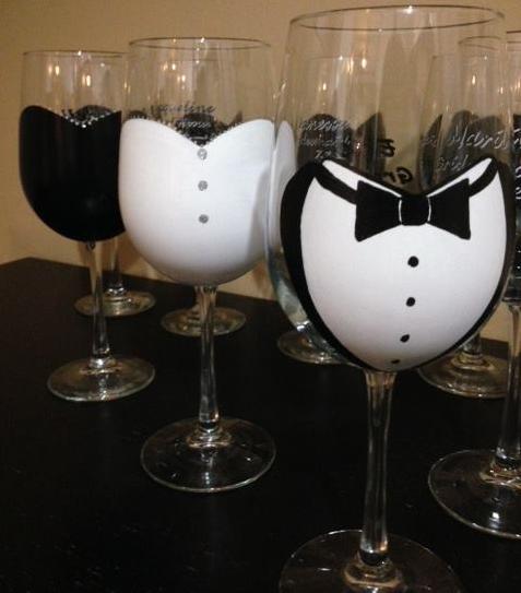 Custom Wedding Party Wine Glasses