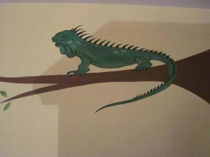 Iguana Wildlife on Tree Branch Mural
