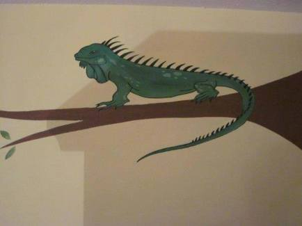 Iguana Wildlife on Tree Branch Mural