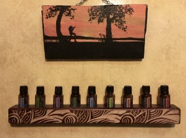 Essential Oil Holder for Wall or Table, Hand Carved Original Leaf Design