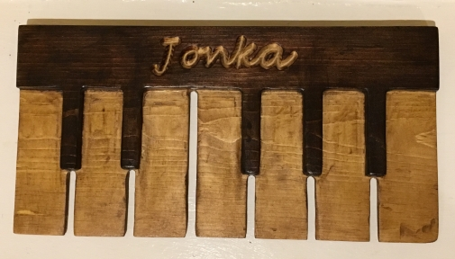 Carved Wooden Piano Picture