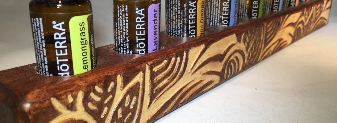 Custom Wall Mounted Essential Oil Holder with original leaf design engraved on front