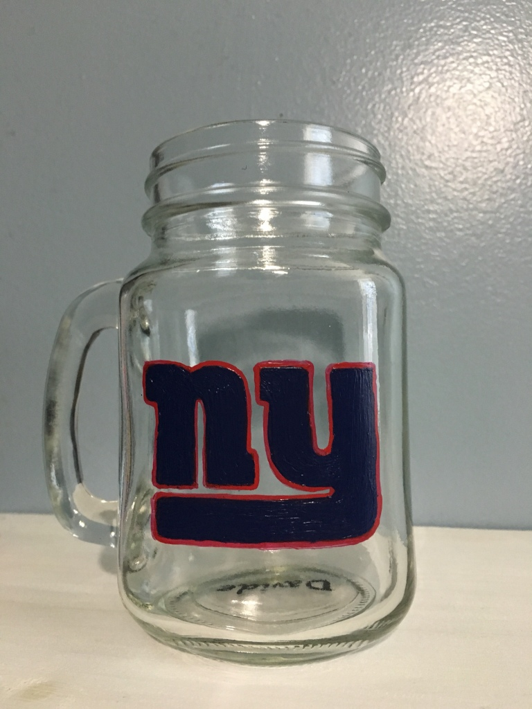 Personalized NY Giants Mason Jar drinking glass hand painted logo