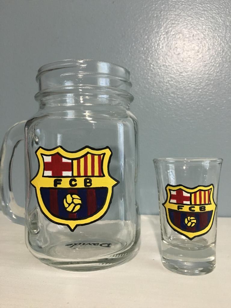 Personalized Mason Jar drinking glass with FCB Soccer logo