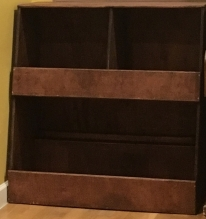 Custom Wooden Toy Storage Bin with red wood stain