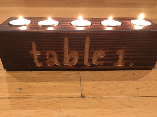 Personalized rustic centerpiece with tea light candle holders
