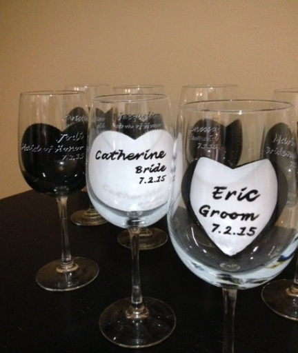 Bridal party wine glass gifts that are hand painted and personalized