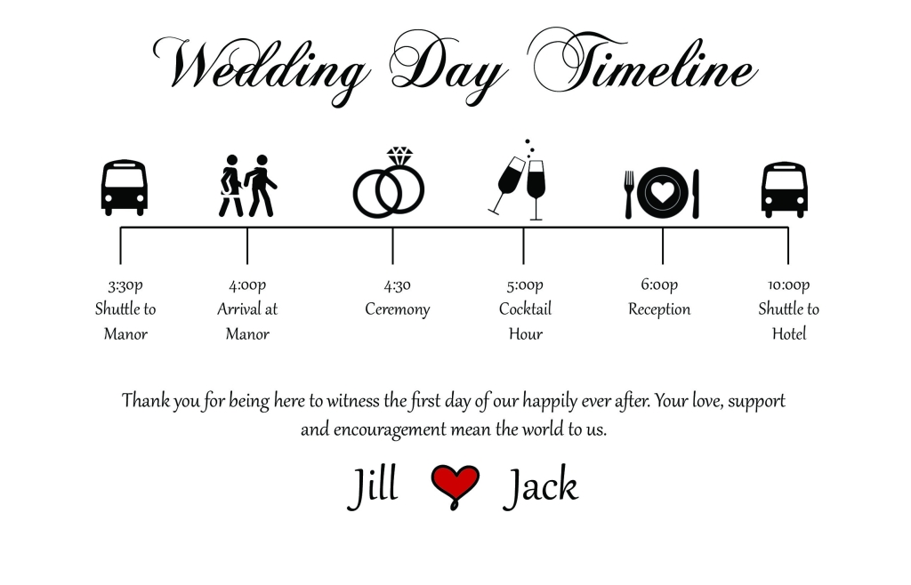 Wedding Day Timeline for Guests