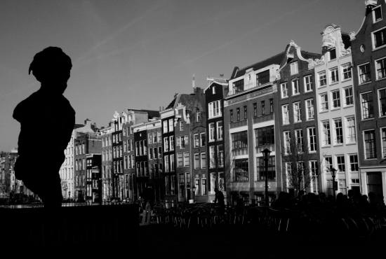 Amsterdam homes with statue