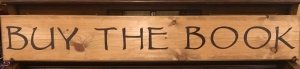 Custom wooden sign stained golden oak and painted lettering in brown